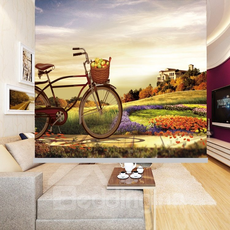 Bicycle in the Field Printing Blackout 3D Roller Shades