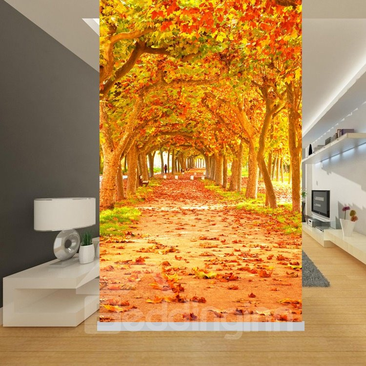 Autumn Path with Red Trees Printing Blackout 3D Roller Shades