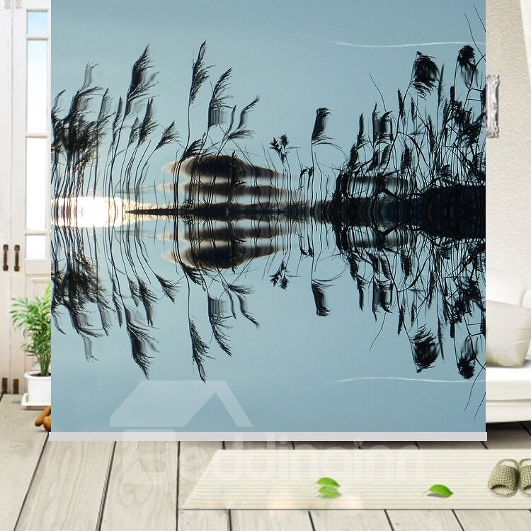 Reed and Reflection in the Water Printing Blackout 3D Roller Shades