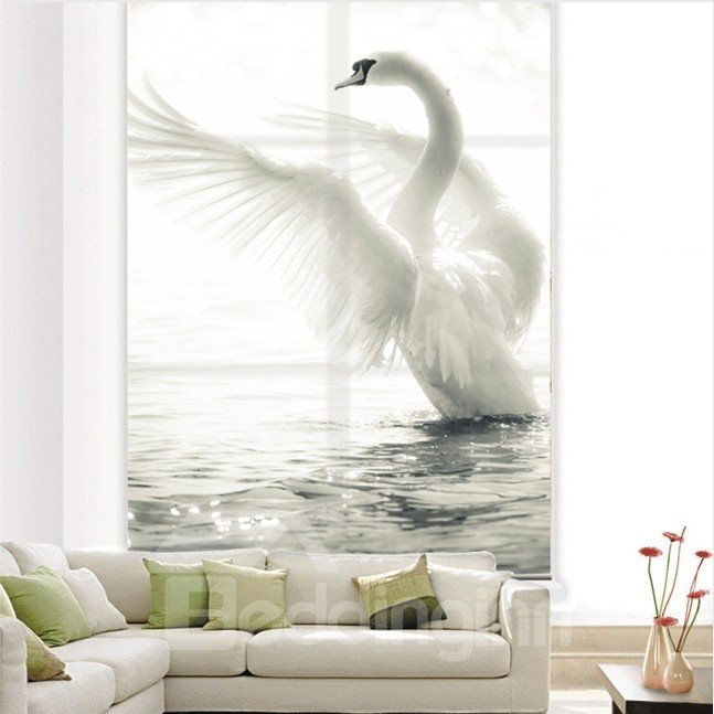 White Swan Spreading the Wings Printing Blackout 3D Roller Shades