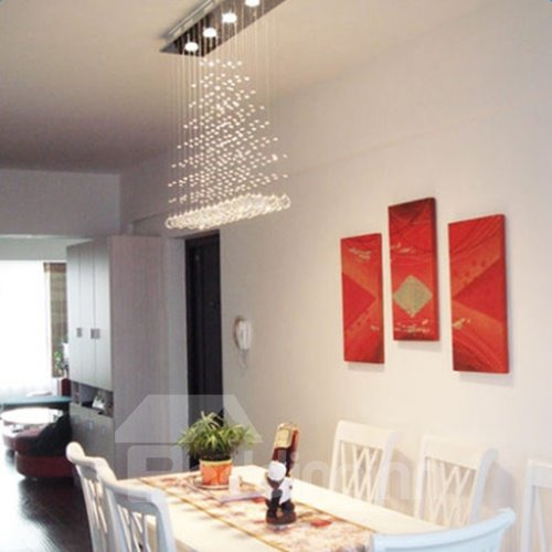 Elegant Stainless and Crystal Rectangle Curtain Style Pendant Lights