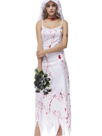 Ghost Bride In Red Blood Long White Skirt Coaplay Costumes