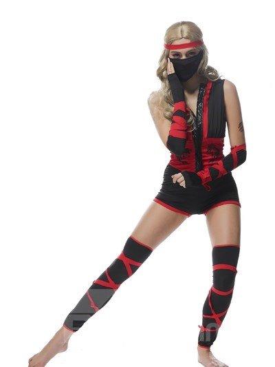 Vivid Fashional Black Red Mixed Ninja Modeling Cosplay Costumes