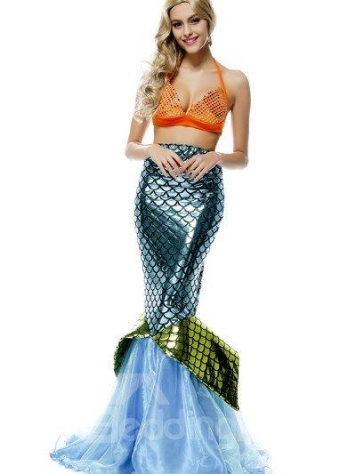 Beautiful Mermaid Style Design Sexy Bikini And Skirt Cosplay Costumes
