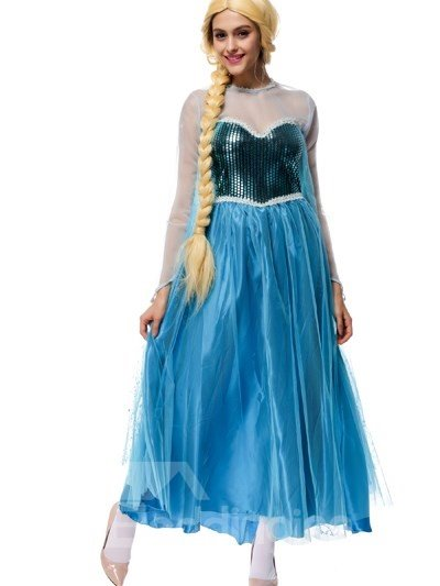 Smurfs Princess Style With Bright Blue Color Fashion Cosplay Costumes
