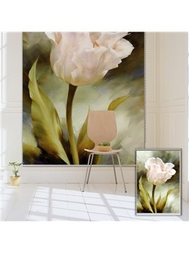 Oil Painting White Tulip Printing Blackout 3D Roller Shades