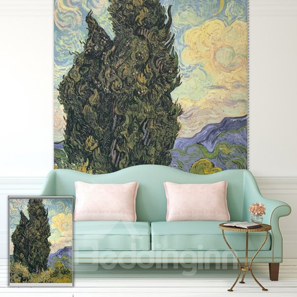 Oil Painting Tree in the Wilderness Printing Blackout 3D Roller Shades