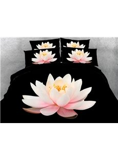 Charming Pink Lotus Print 5-Piece Comforter Sets
