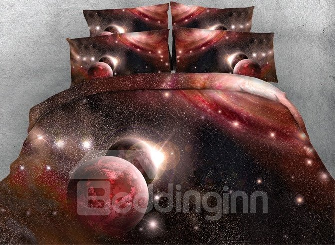 Magical Red Galaxy 3D Print 5-Piece Comforter Sets