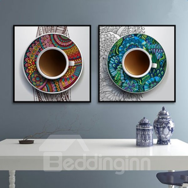 Classic Style Coffee Cup Set Pattern Framed Waterproof 2 Pieces Wall Art Prints