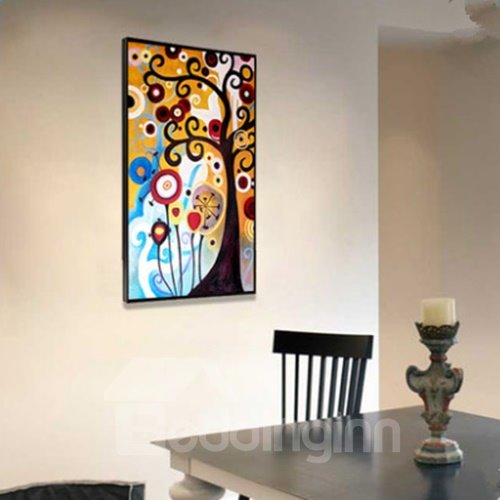 Modern Design Rectangle Colorful Tree Pattern Framed Waterproof Wall Art Prints