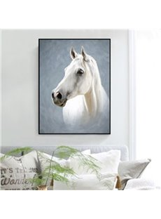 Visual Design Rectangle White Horse Pattern Framed Waterproof Wall Art Prints