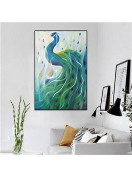 Glamorous Rectangle Canvas Peacock Pattern Framed Home Decor Wall Art Print