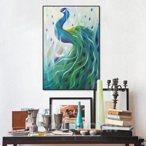 Glamorous Rectangle Canvas Peacock Pattern Framed Home Decor Wall Art Print