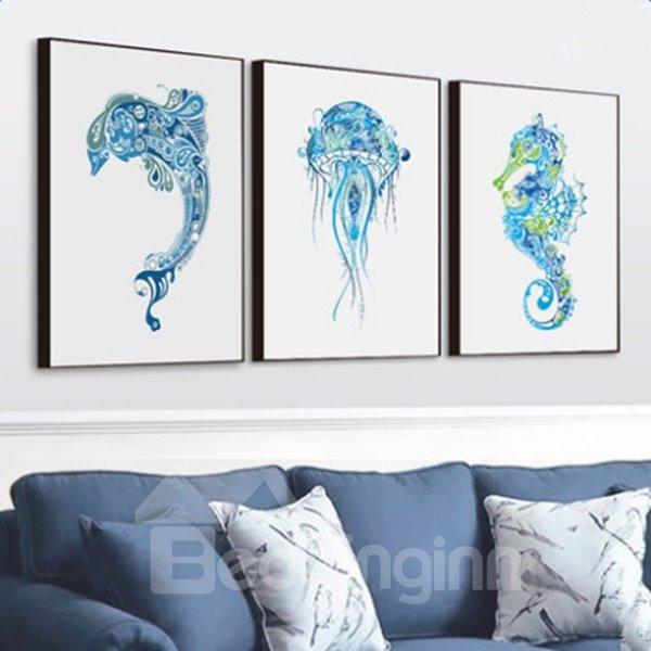 Blue European Style Marine Animals Pattern 3-piece Framed Waterproof Wall Art Prints
