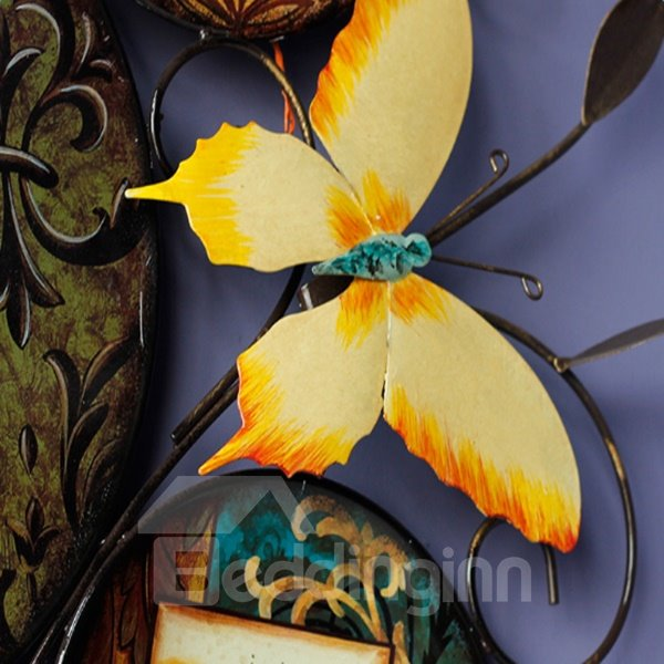 Unique Design Iron Decorative Butterfly and Dragonfly Pattern 3D Wall Stickers