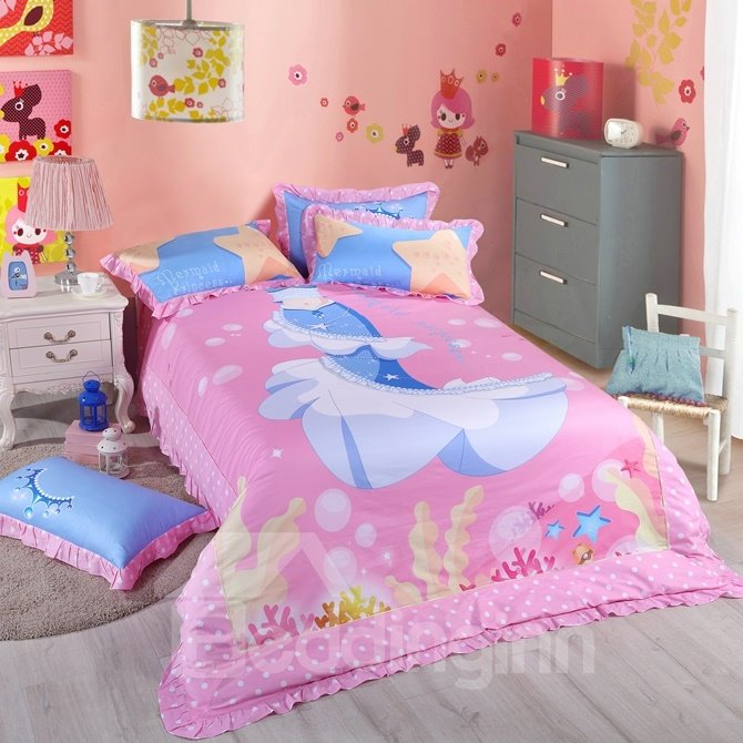 Mermaid Princess Pattern Kids Cotton 4-Piece Duvet Cover Sets