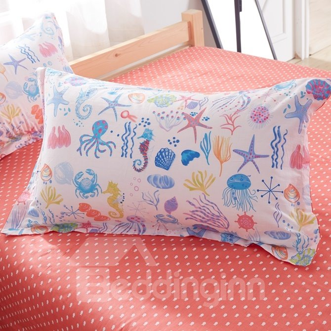Ocean World Pattern Kids Cotton 4-Piece Duvet Cover Sets