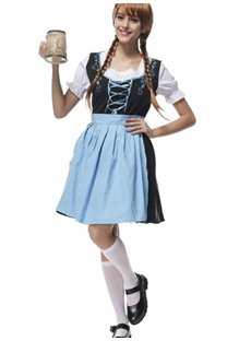 New Fresh Fashion Light Blue Long Skirt Cosplay Costumes