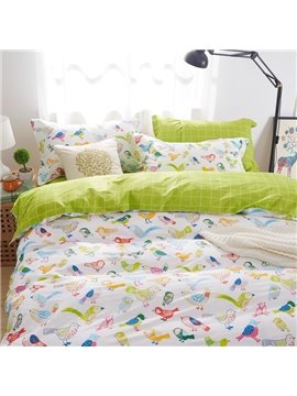 Cute Larks Pattern Kids Cotton 4-Piece Duvet Cover Sets