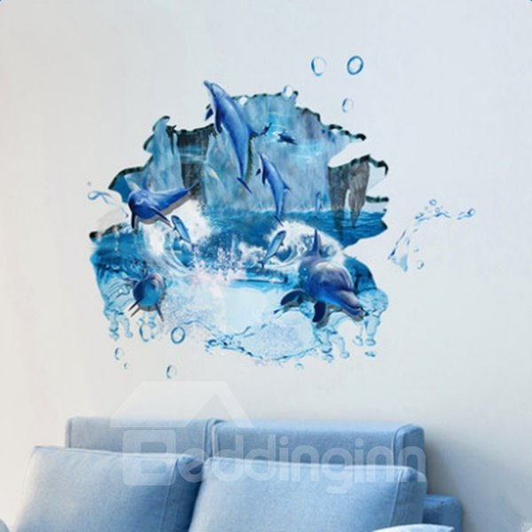 Blue Creative Decorative Dolphins Pattern 3D Floor Stickers