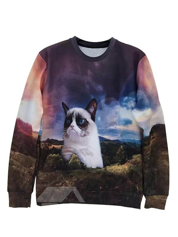 Lovely Long Sleeve Cat Pattern 3D Painted Hoodie