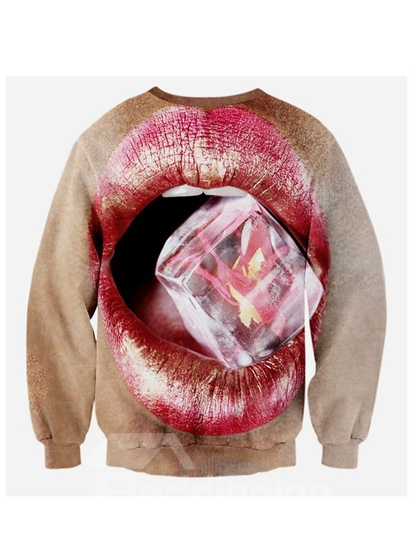 Long Sleeve Sexy Lip Pattern 3D Painted Hoodie