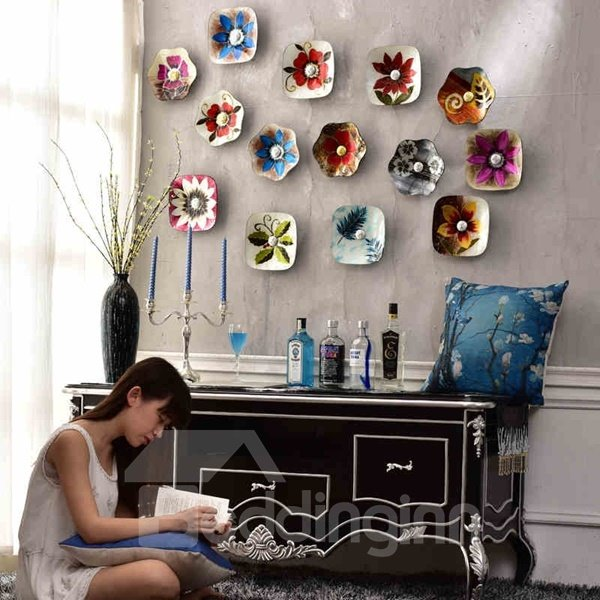 Country Style Glass Flower Pattern Hanging Dish Decor 3D Wall Stickers 12443401