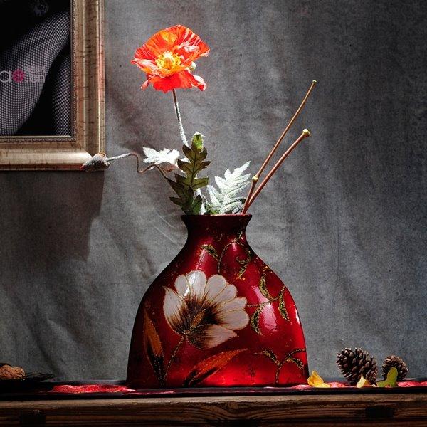 Red Exquisite Ceramic Flower Pattern Desktop Decoration Flower Vase
