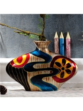 Special Ceramic Winding River Pattern Desktop Decoration Flower Vase