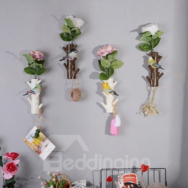Simple Style Resin Birds on the Tree Shape Wall Decor Flower Vase