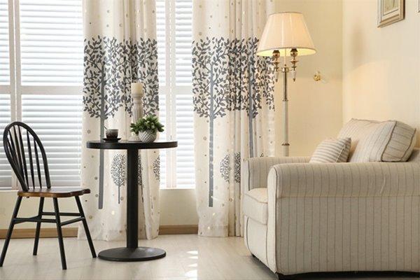 Concise Grey Tree Printing Shading Cloth & Sheer Curtain Sets