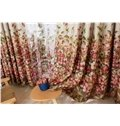Beautiful Flowers Printing Yellow Shading Cloth & Sheer Curtain Sets