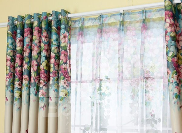 Floral Printing Green Shading Cloth & Sheer Curtain Sets