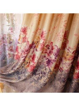 Colored Lily Printing Shading Cloth & Sheer Curtain Sets