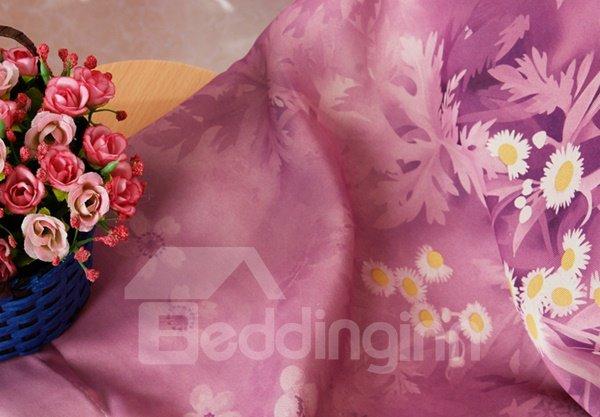 Beautiful Lily Printing Pink Shading Cloth & Sheer Curtain Sets
