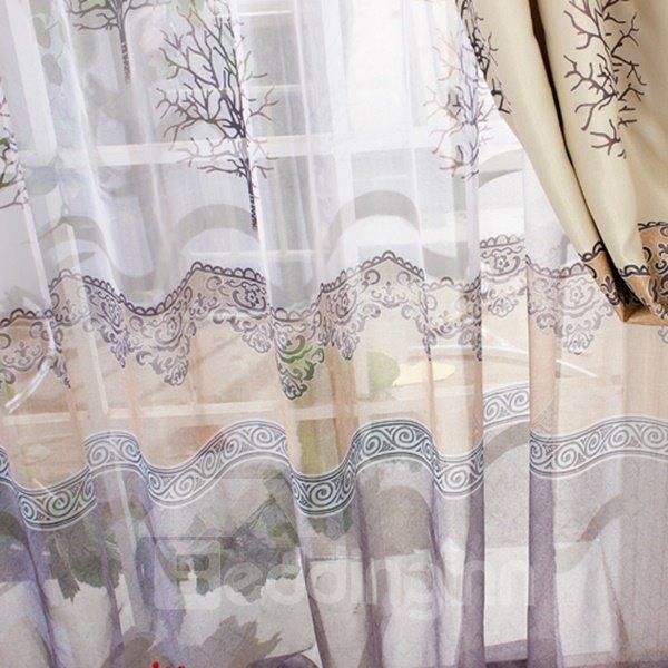 Wonderful Tree Printing Shading Cloth & Sheer Curtain Sets