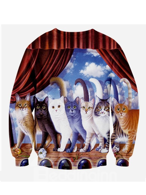 Cute Long Sleeve Cats Pattern 3D Painted Hoodie