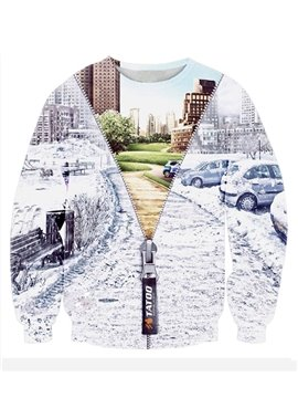 Unique Long Sleeve Different Landscapes Pattern 3D Painted Hoodie