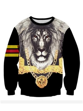 Long Sleeve Lion Pattern 3D Painted Hoodie