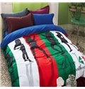 Concise and Bright Sketch Girl Print 4-Piece Cotton Duvet Cover Sets