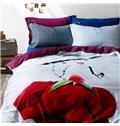 Personalized Girl in Red Print 4-Piece Cotton Duvet Cover Sets