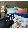 Chic Stylish Girl Print 4-Piece Cotton Duvet Cover Sets