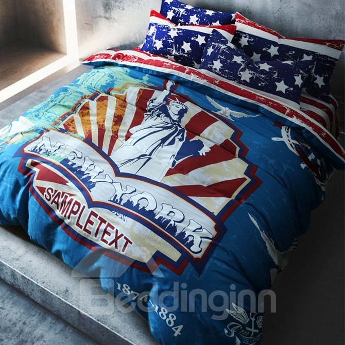 This Statue of Liberty Print 4-Piece Cotton Duvet Cover Sets