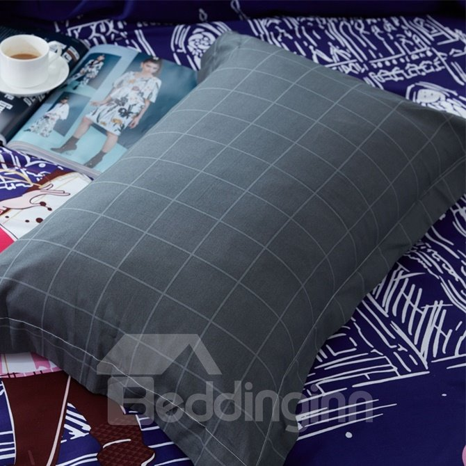 Contemporary Girl Print 4-Piece Cotton Duvet Cover Sets
