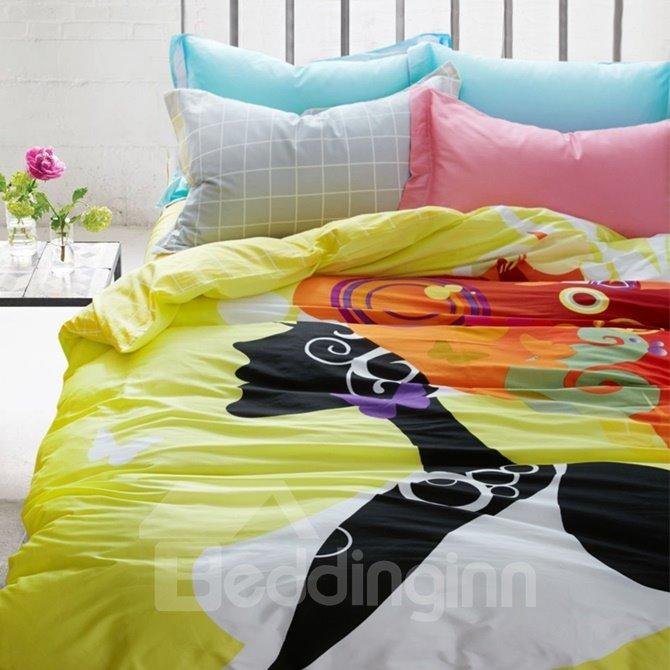 Modern Style Cartoon Girl Print 4-Piece Cotton Duvet Cover Sets