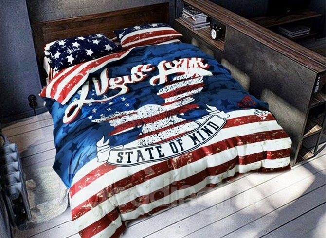Fashion Stars and Stripes Print 4-Piece Cotton Duvet Cover Sets