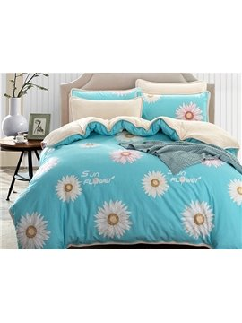 Unique Daisy Print Blue 4-Piece Duvet Cover Sets