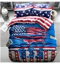 Chic USA Flag Print 4-Piece Cotton Duvet Cover Sets
