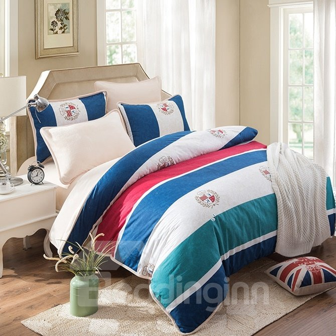 European Style Concise Stripe Print 4-Piece Cotton Duvet Cover Sets